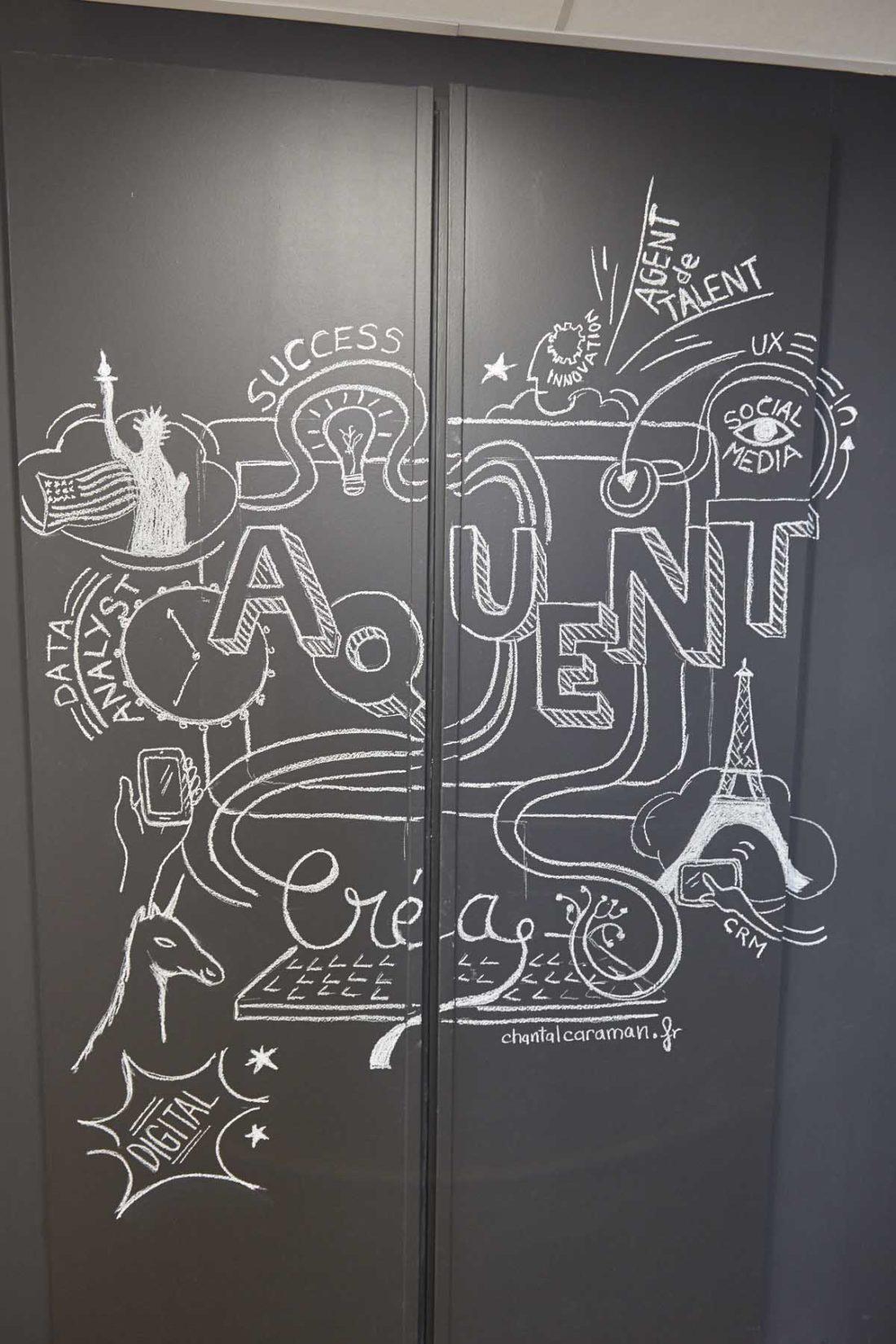 Dessin-a-la-craie-sur-peinture-tableau-noir-au-siege-Aquent-France